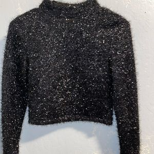 Sparkly black cropped top